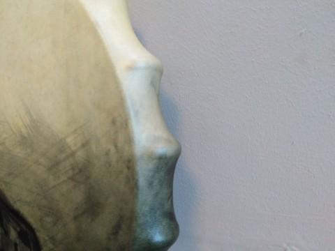 """Бубен РЫСЬ. Мембрана 56 см (кожа - козёл, ручка - клен). Дух бубна: """"Агипа""""."""